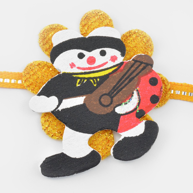 Snow Man on Golden Flower Rakhi for kids
