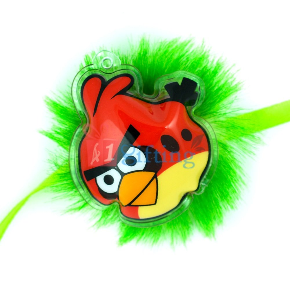 Air Packed Red Angry Birds on Green Fiber Base Cartoon Rakhi for Kids