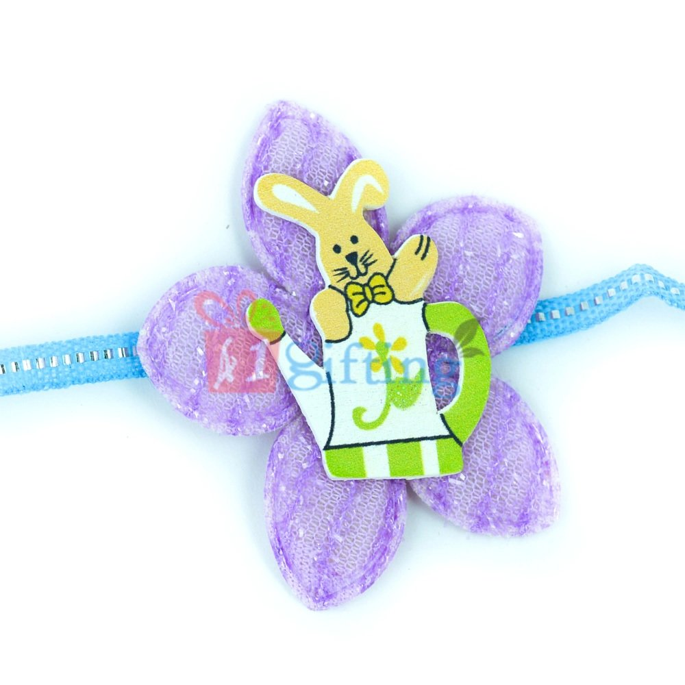 Fancy Floral Base Rabbit Designer Rakhi for Kids