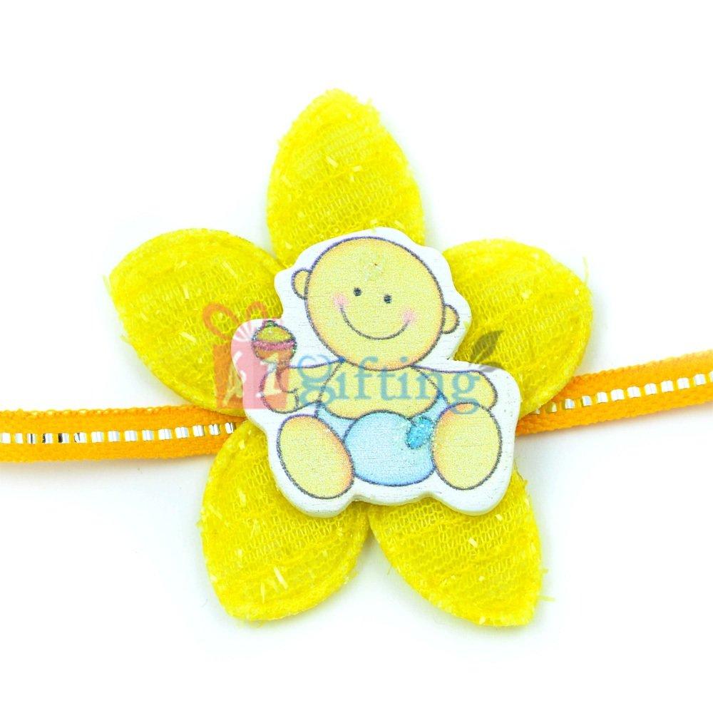 Beautiful Yellow Fiber Flower Base Little Playing Kids Rakhi