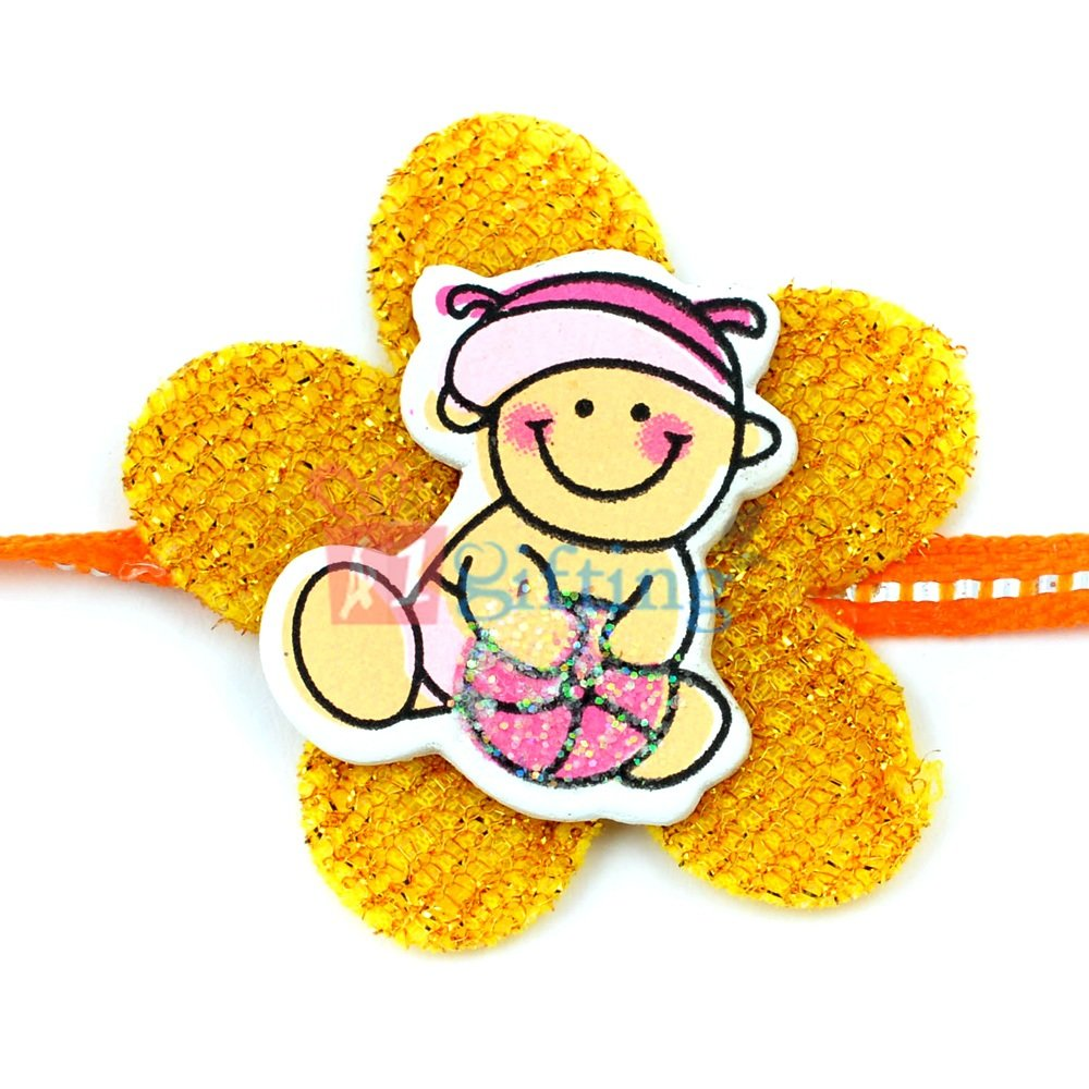 Yellow Floral Base with Little Playing Babe Cartoon Rakhi for Kids