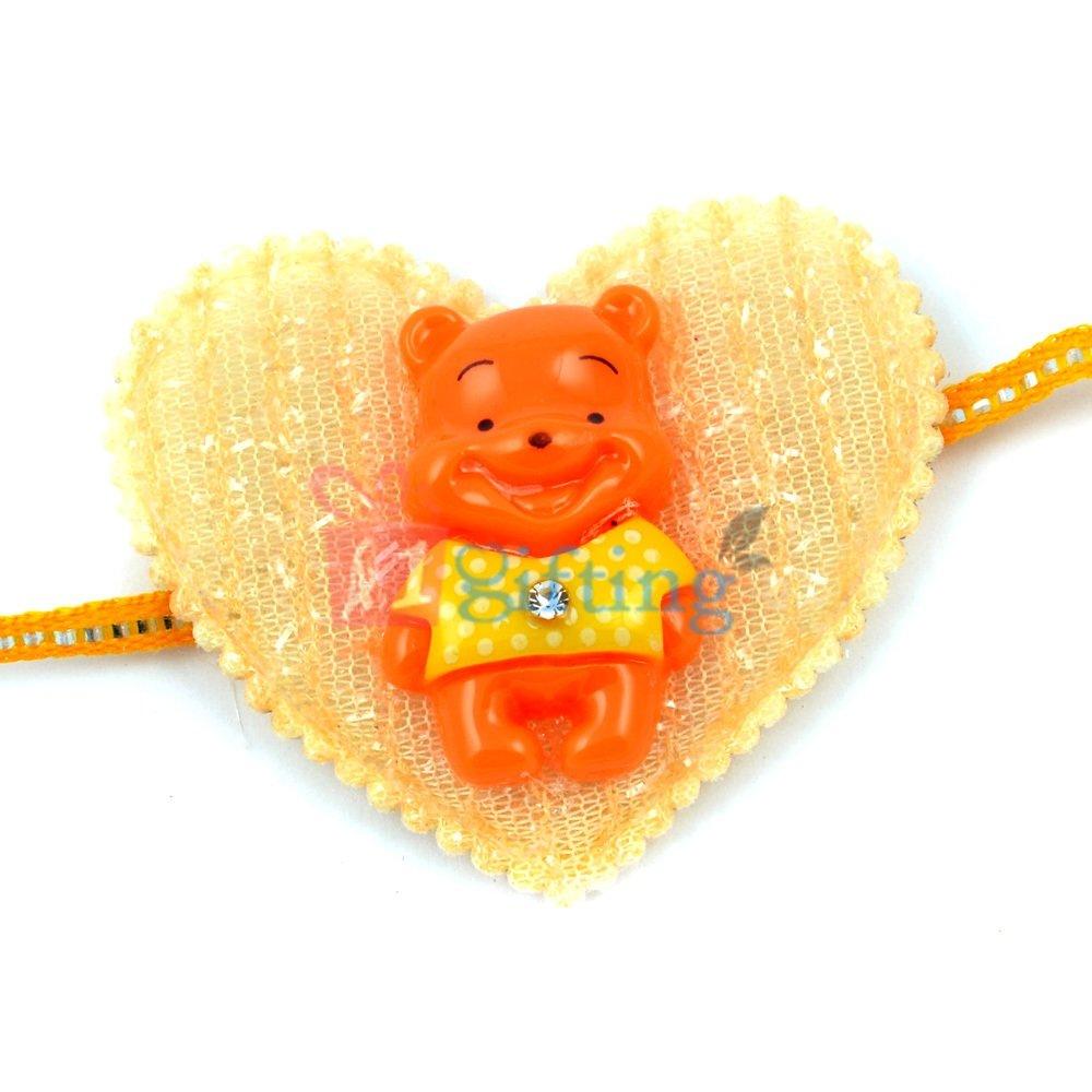 Heart Shape Spongy Base Laughing Little Bear Rakhi for Kids