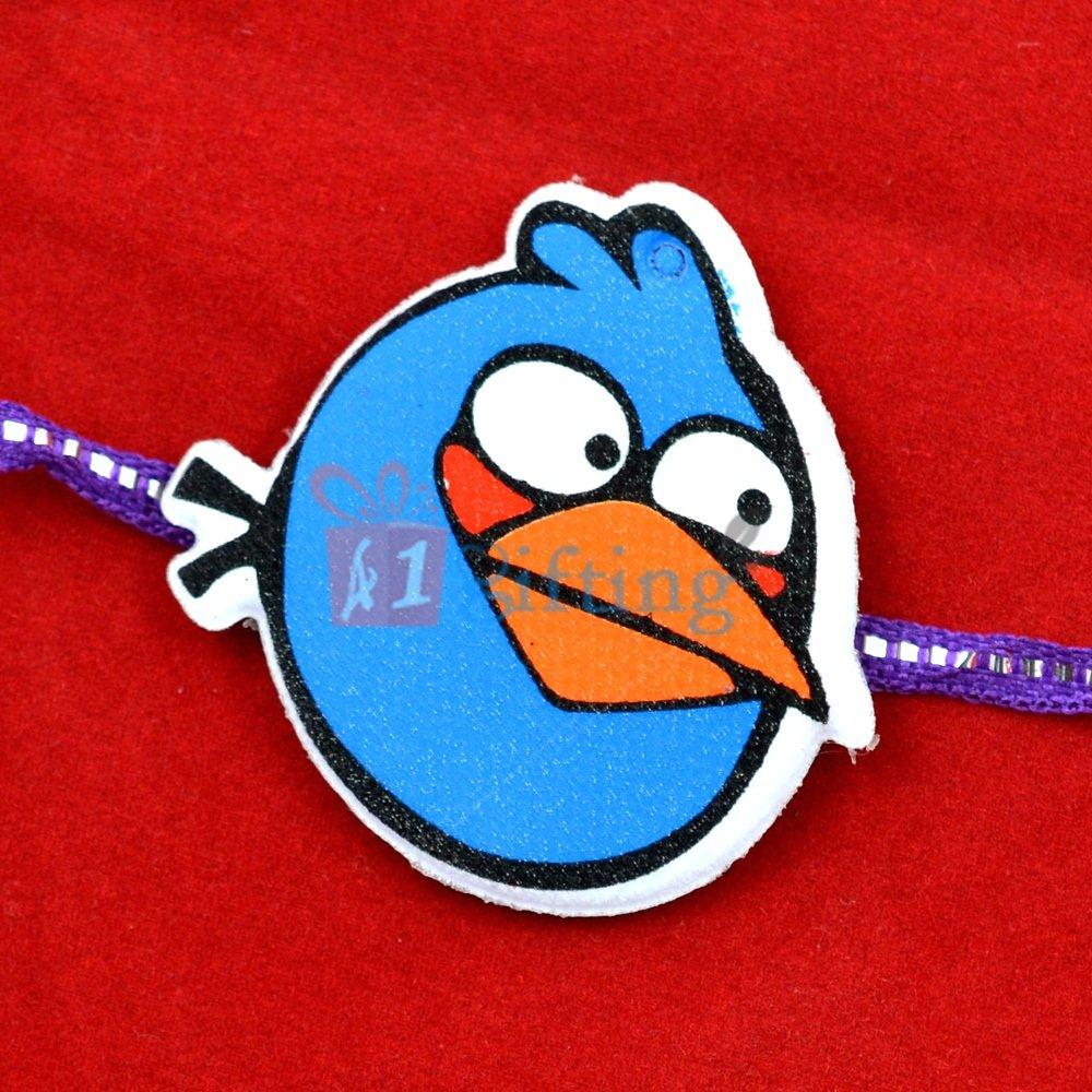 Blue Angry Bird with Green Beak Rakhi for Children