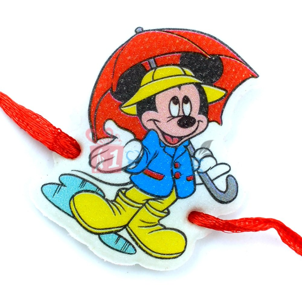 Mickey Mouse with Umbrella Rakhi for Kids