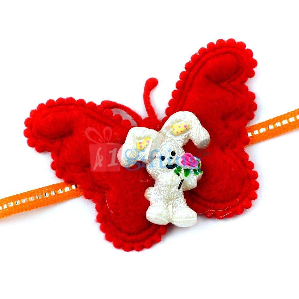 Butter Fly Shape Base Rabbit with Rose - Cartoon Rakhi for Kids