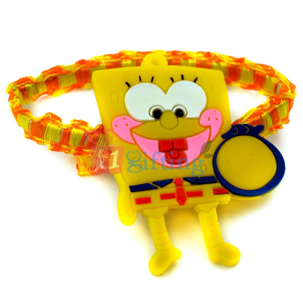 Spongebob Kids Rakhi Wrist Band with Blinking Lights