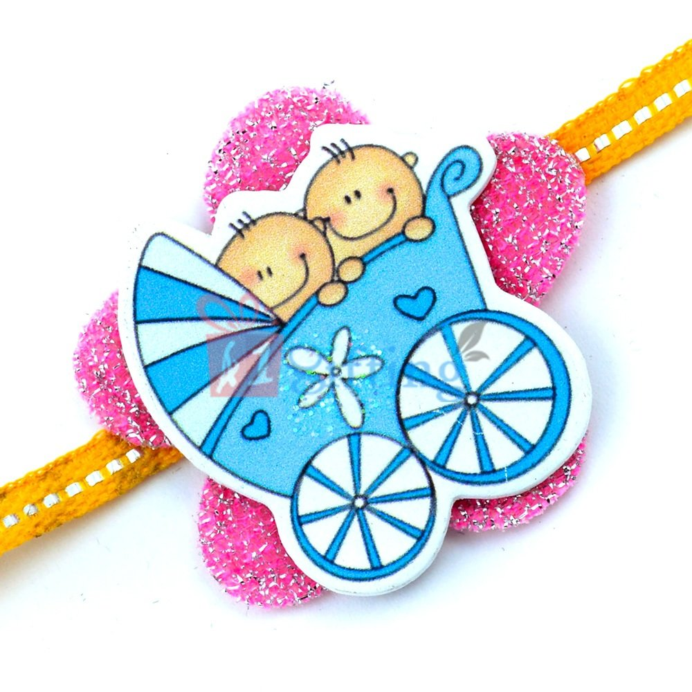 Two Kids in Playing Cart Floral Designer Rakhi for Children