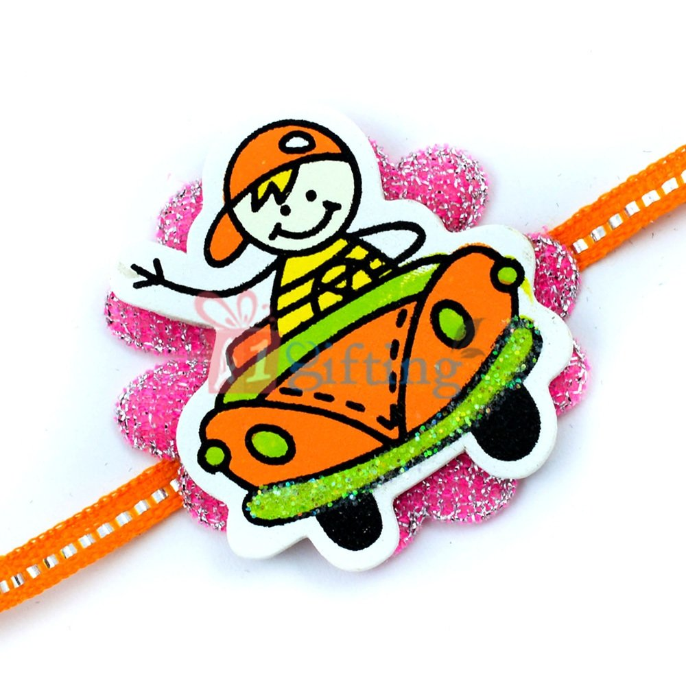 Little Boy Driving Car - Cartoon Kids Rakhi