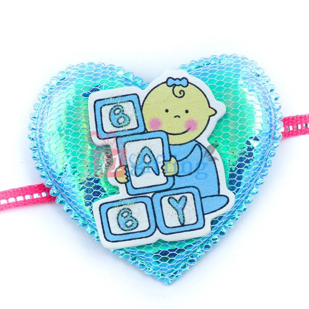 Learner Baby in Heart Shape Fancy Base Rakhi for Small Kids