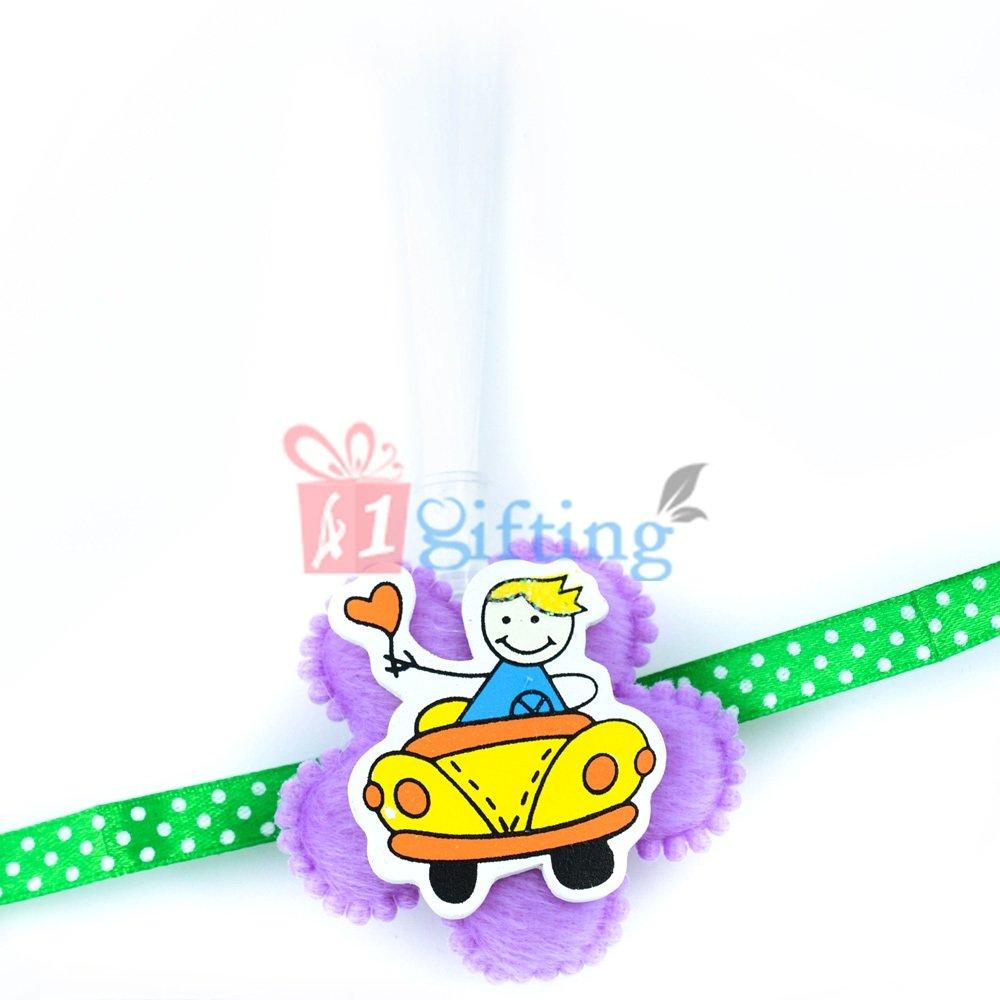 Caring Love - Little Boy Driving Car with Light Rakhi for Kids