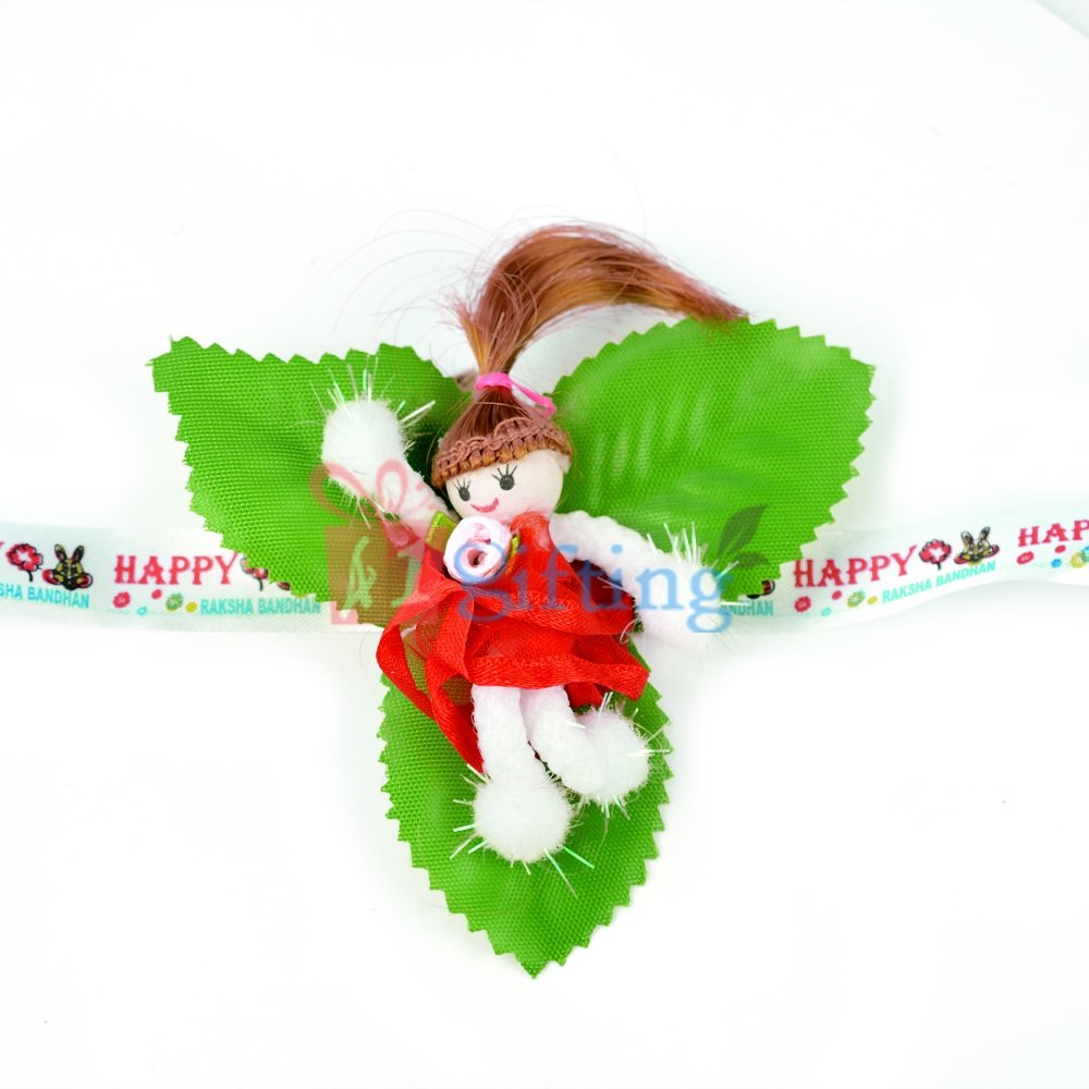 Babby Doll with Leaves Base Kids Rakhi