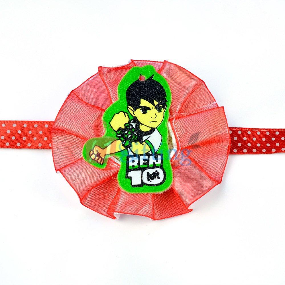 Ben10 Rakhi for Kids with Flower Base