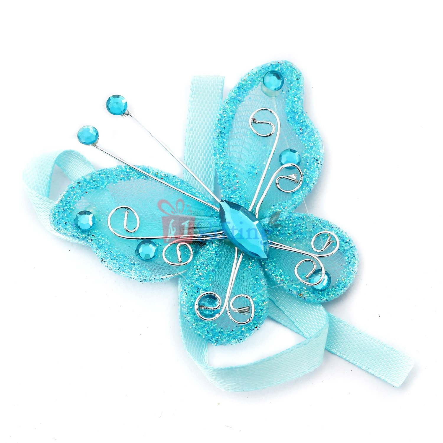 Beautiful centered crystal marquise blue butterfly