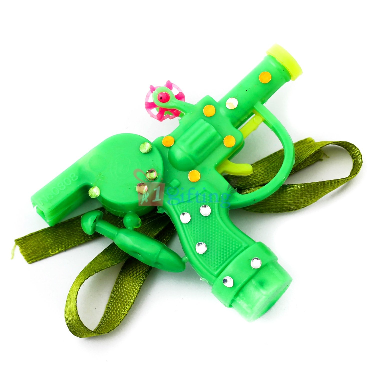 Natural green color plastic gun and whistle studded with crystals