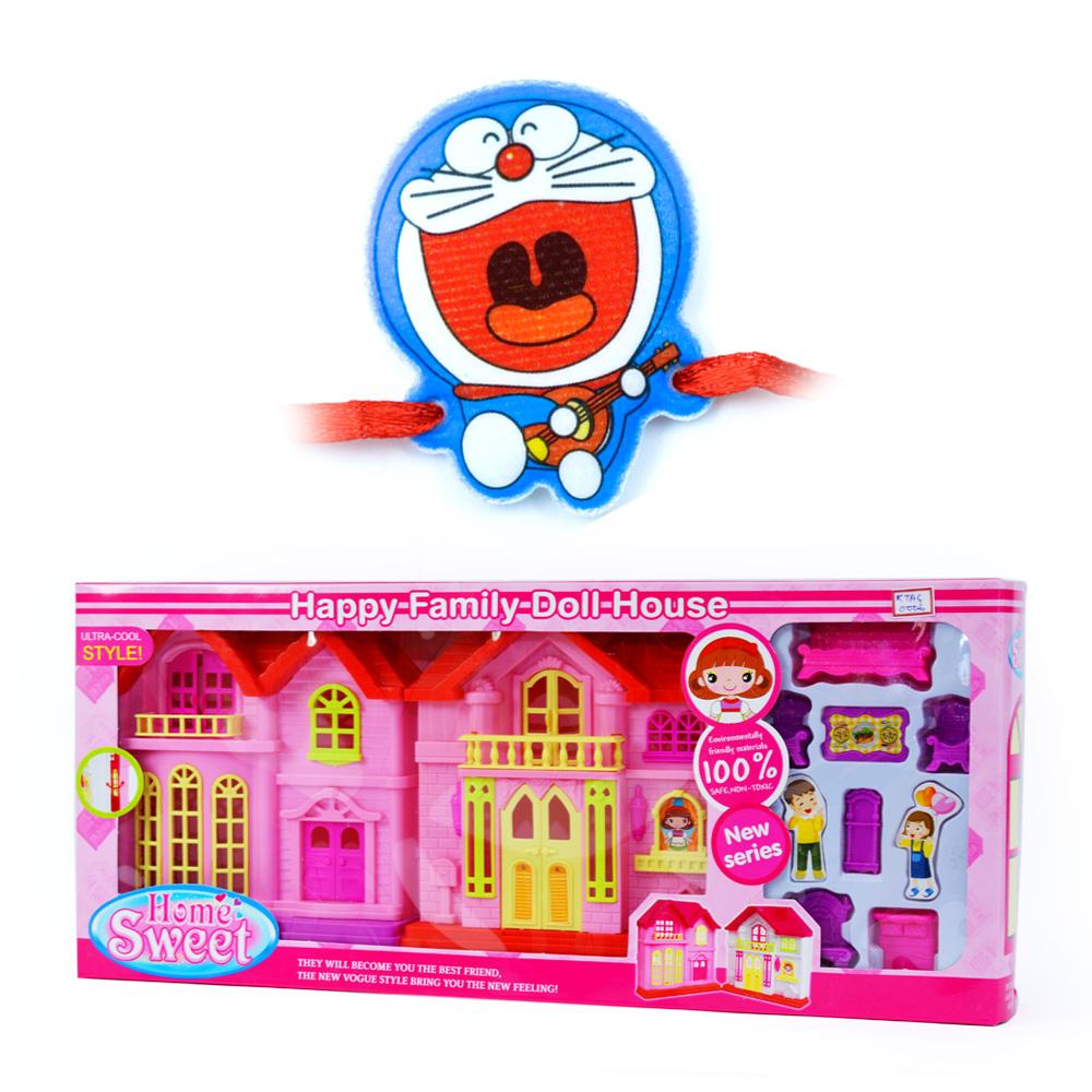Happy Family Doll House n Doraemon Kids Rakhi