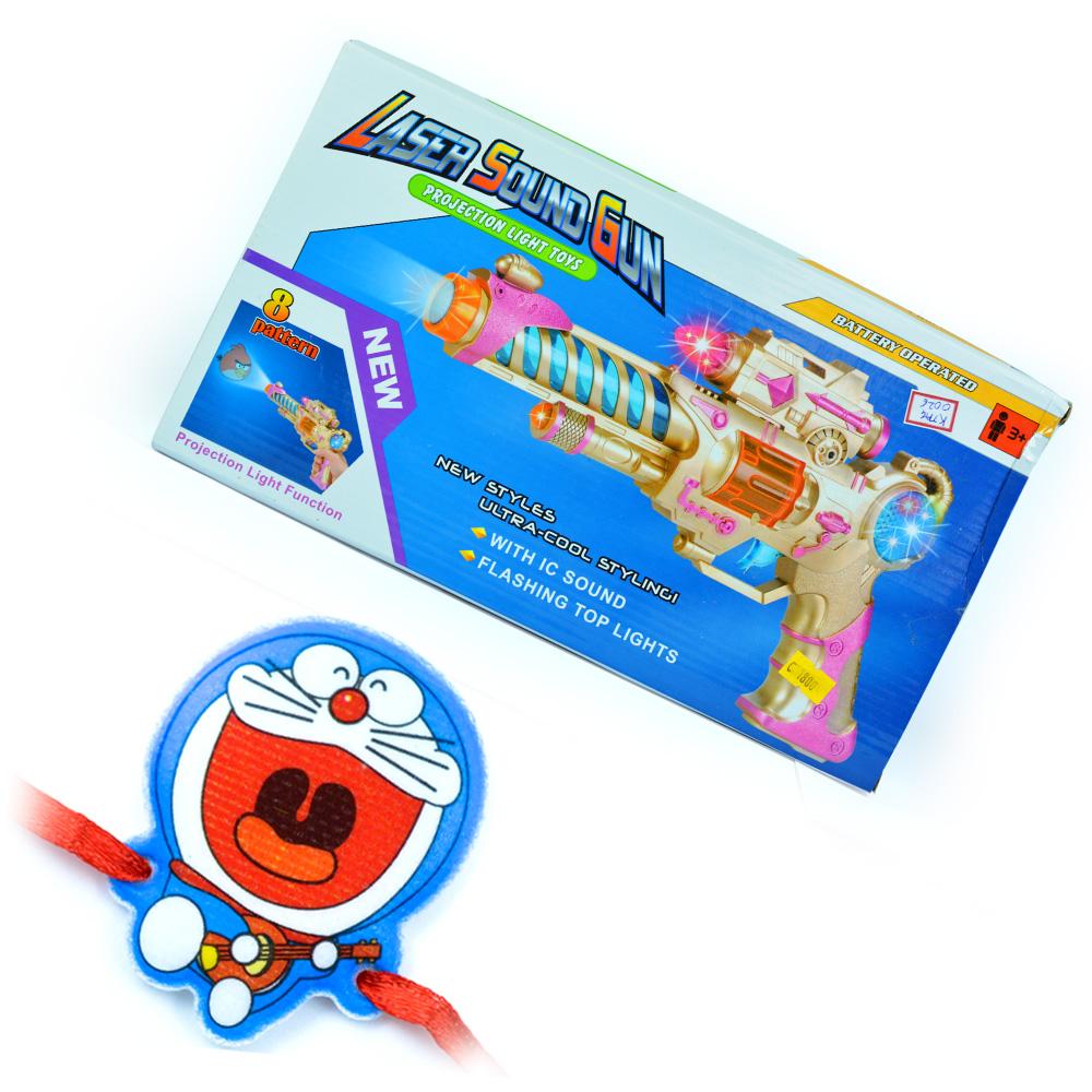 Laser Sound Gun-Kids Toy n Doraemon Rakhi for Kids