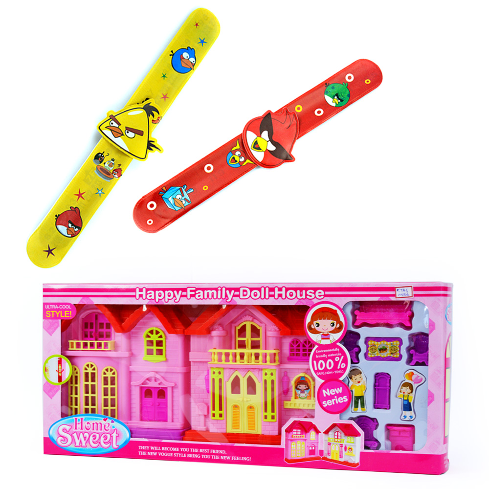 Happy Family Doll House n Angry Birds Band-2 Pairs for Kids