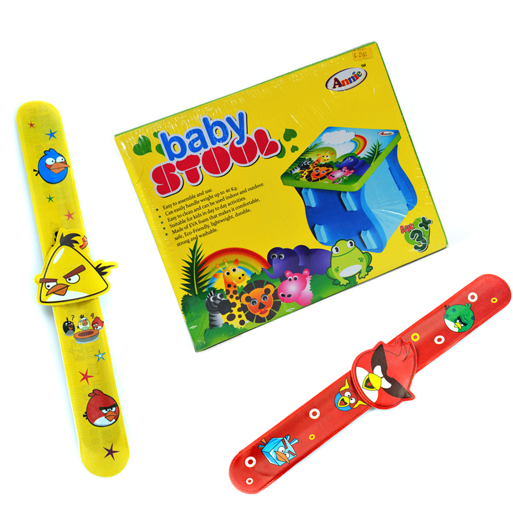 Baby Stool n Twin Angry Birds Rakhi Bands