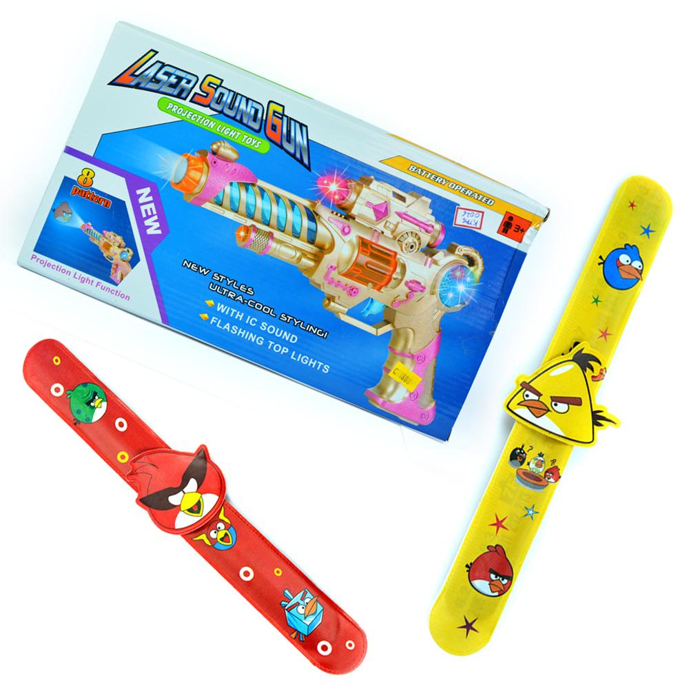 Laser Sound Gun-Kids Toy n Angry Birds Rakhi Bands Pair