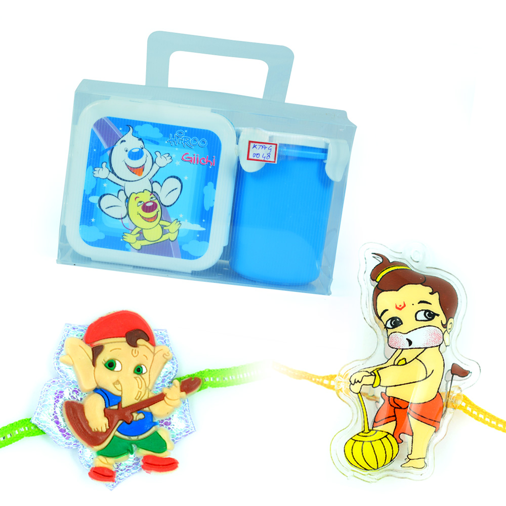 Hiroo-Tiffin n Cup-Lil Ganesha-Hanuman Rakhi for Kids
