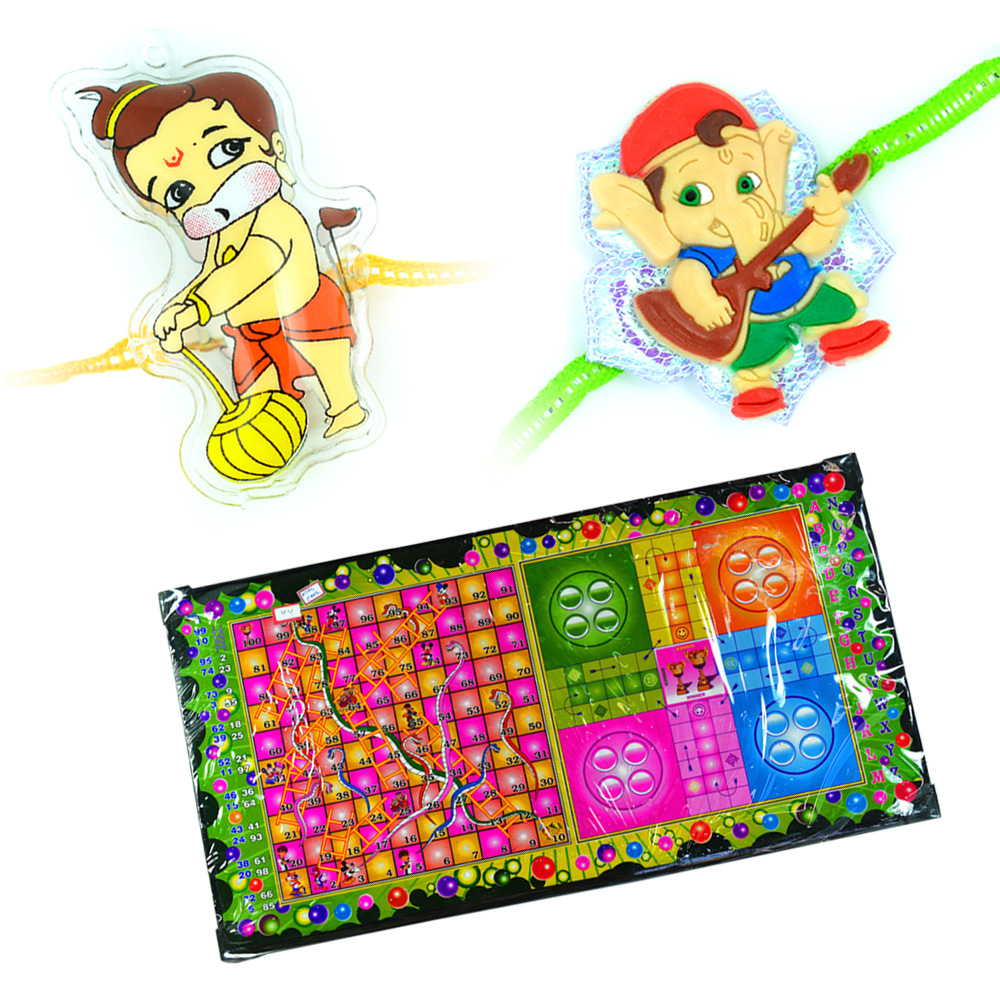 Snake n Ladder-Ludo n Bal Hanuman-Ganesha Rakhi for Kids
