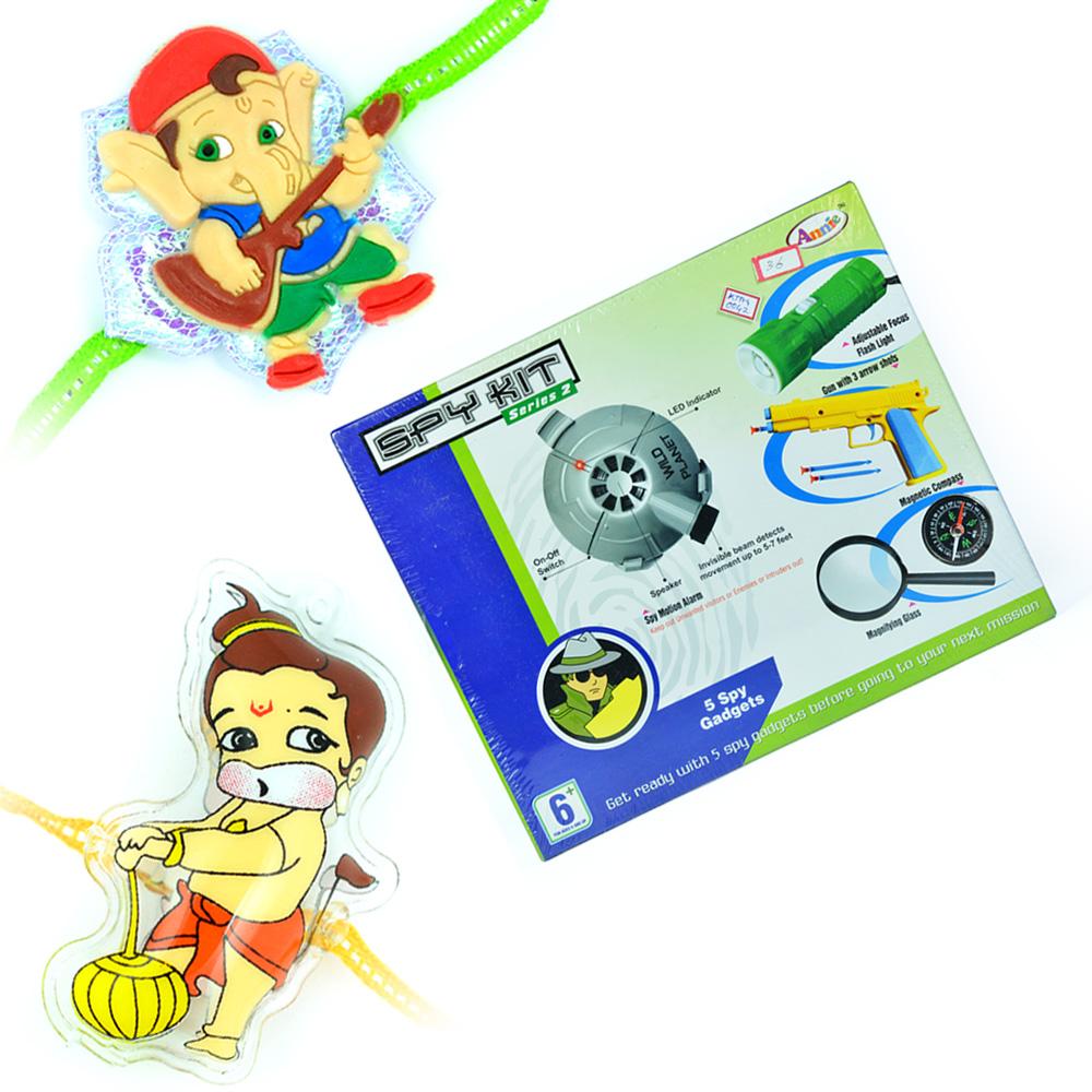 Spy Kit Series-2 with Lil Ganesha n Bal Hanuman Kids Rakhi