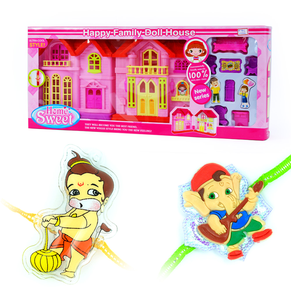 Happy Family Doll House n Twin Rakhi Pair