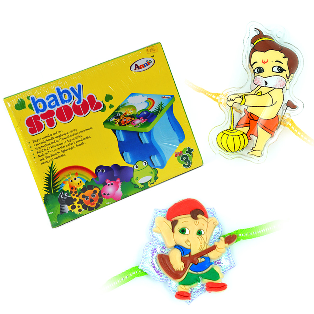 Baby Stool n Little Ganesha-Bal Hanuman Kids Rakhi