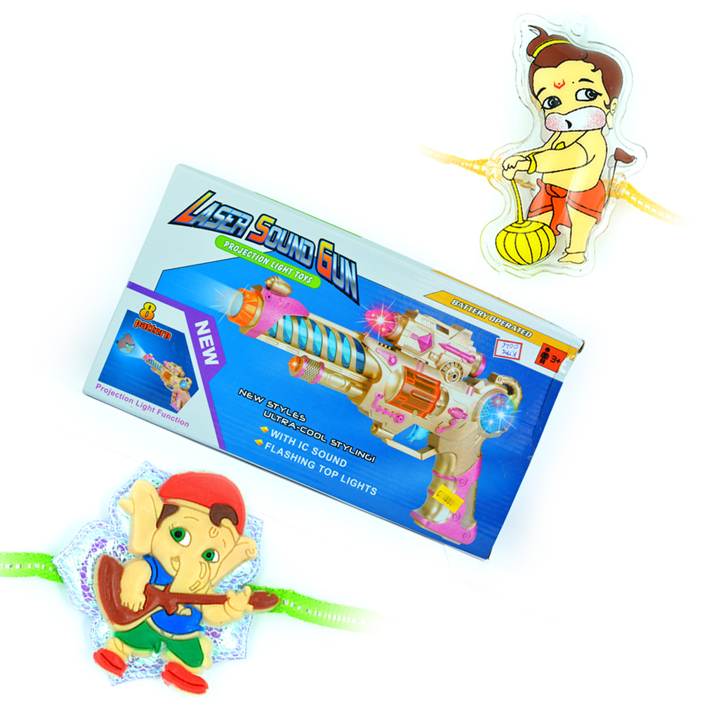 Laser Sound Gun-Kids Toy with 2 Kids Rakhis