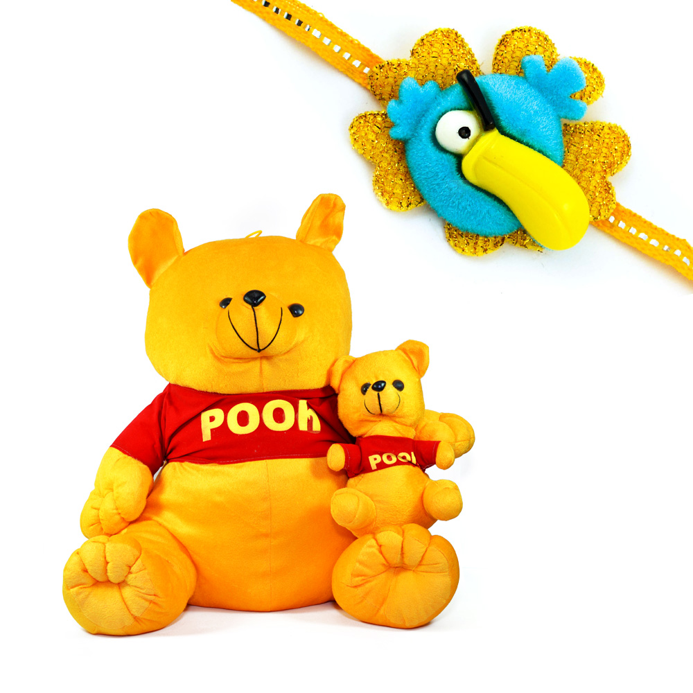 Pooh with Little Pooh Soft Toy n Kids Rakhi