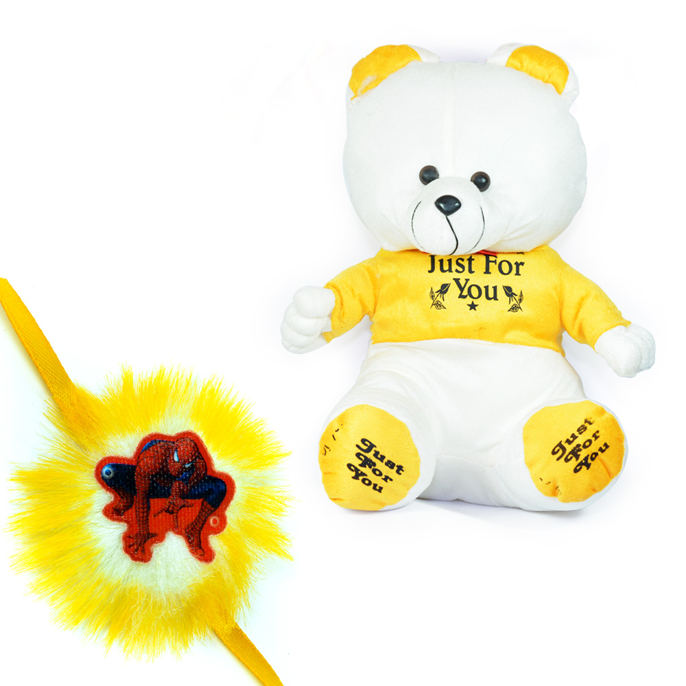 Stuffed Teddy Bear with Spidermen Rakhi for Kids