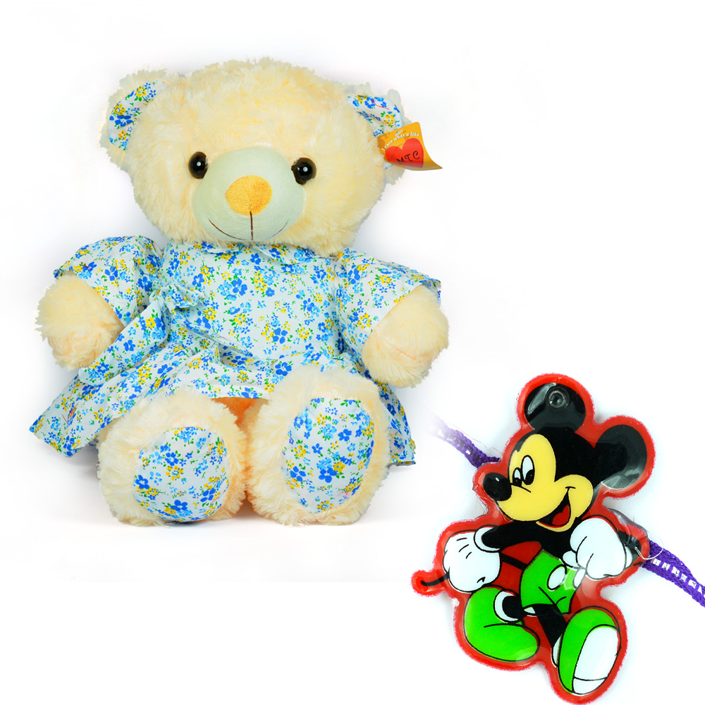 Blue Dressed Girl Stuffed Teddy Bear with Mickey Kids Rakhi