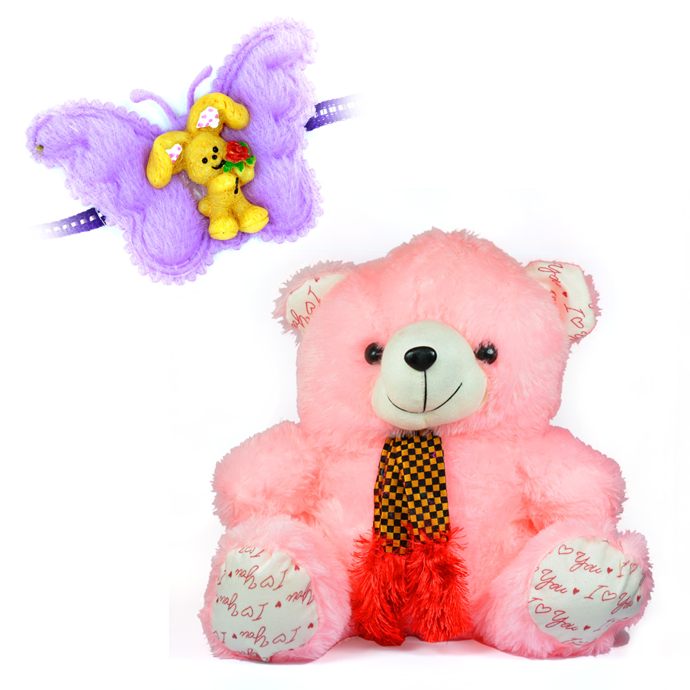 Lovely Pinky Soft Toy with Tie Teddy Bear n Butterfly Kids Rakhi