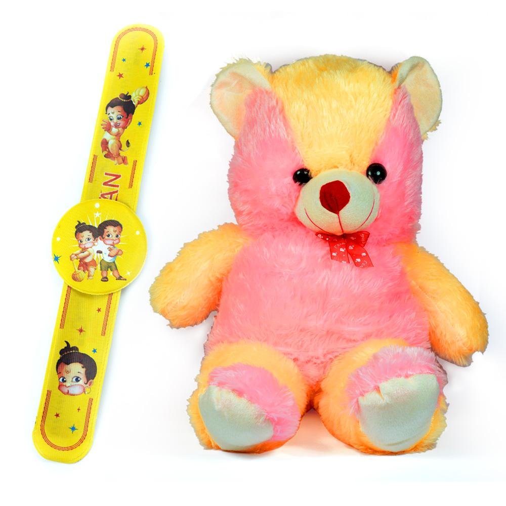 Stuffed Soft Toy Teddy Bear Tie Bow n Rakhi Band for Child