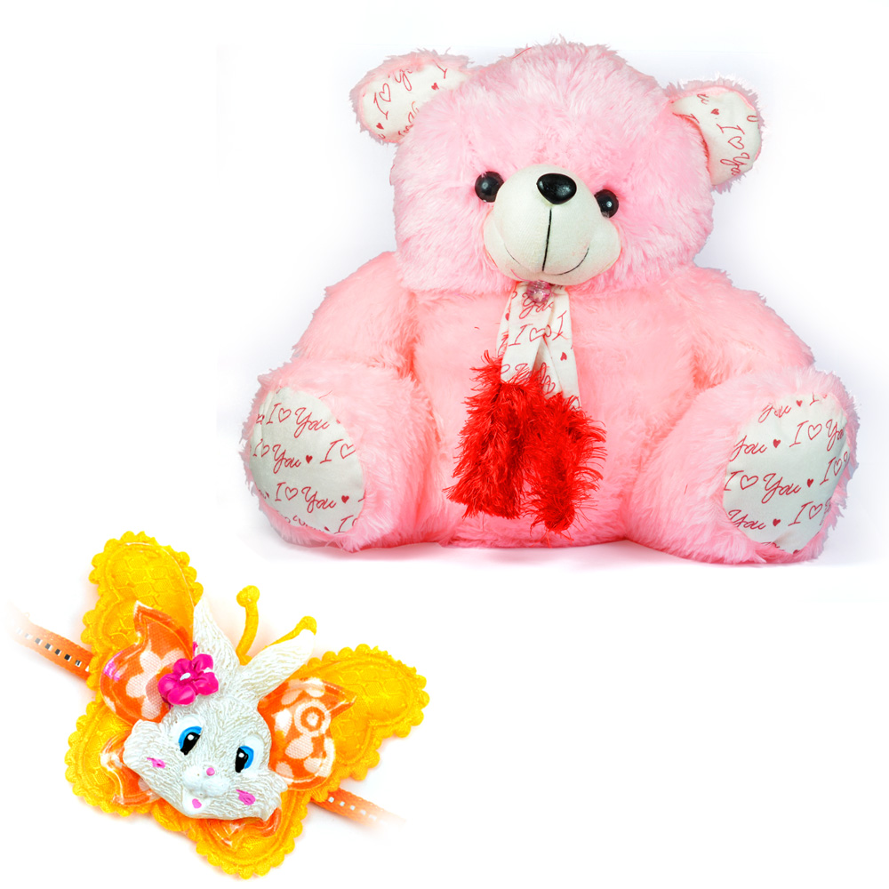 Big Kiddy Pink Stuffed Teddy Bear n Butterfly Rabbit Kids Rakhi