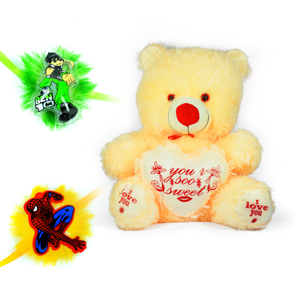 Creamy Stuffed You Soo Sweet Teddy Bear Toy n 2 Kids Rakhi