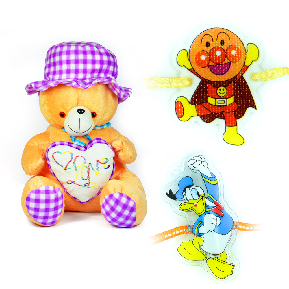 Lovely Hat Soft Stuffed Teddy Bear Toy n 2 Kids Rakhi