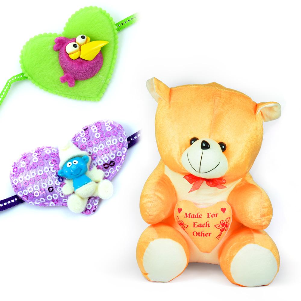 Orange Heartly Stuffed Teddy Bear Toy and 2 Kids Rakhi