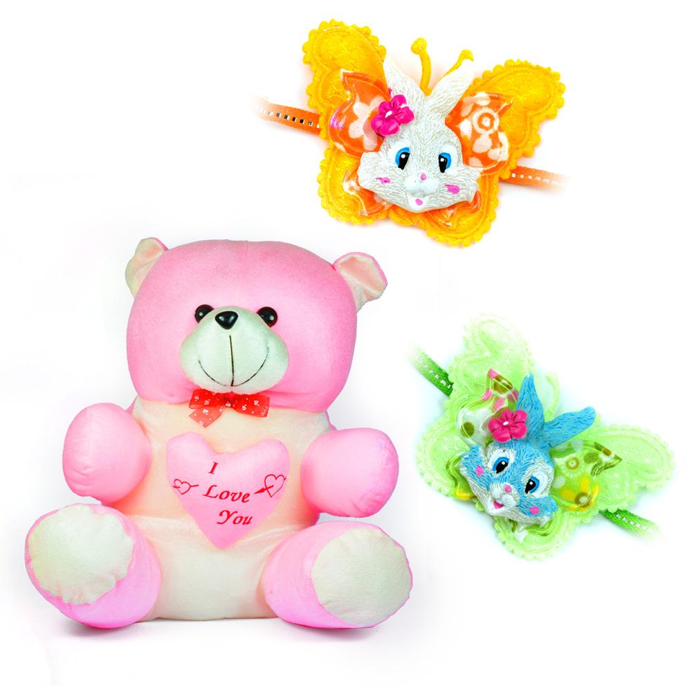 Big Heart Pinky Teddy Bear with 2 Kids Rakhi