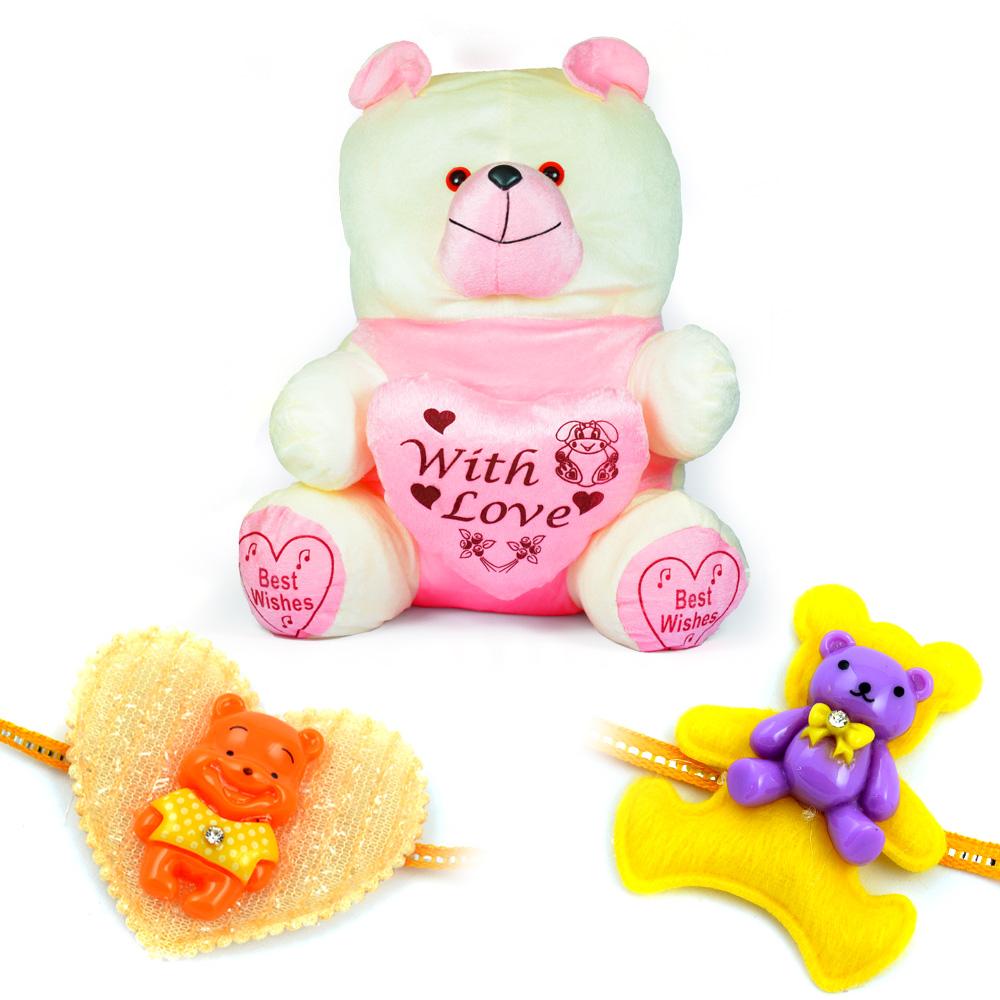 Pinky Heart with Love Stuffed Teddy Bear Toy n 2 Kids Rakhi