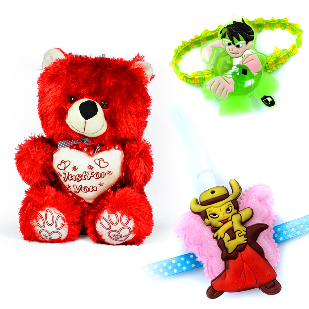 Red Soft Just For You Teddy Bear Toy and 2 Kids Rakhi
