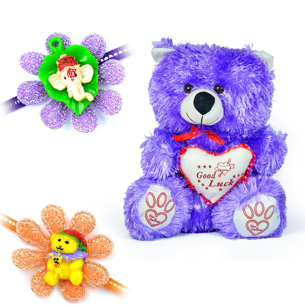 Blue Good Luck Bow Heart Soft Toy with 2 Kids Rakhi