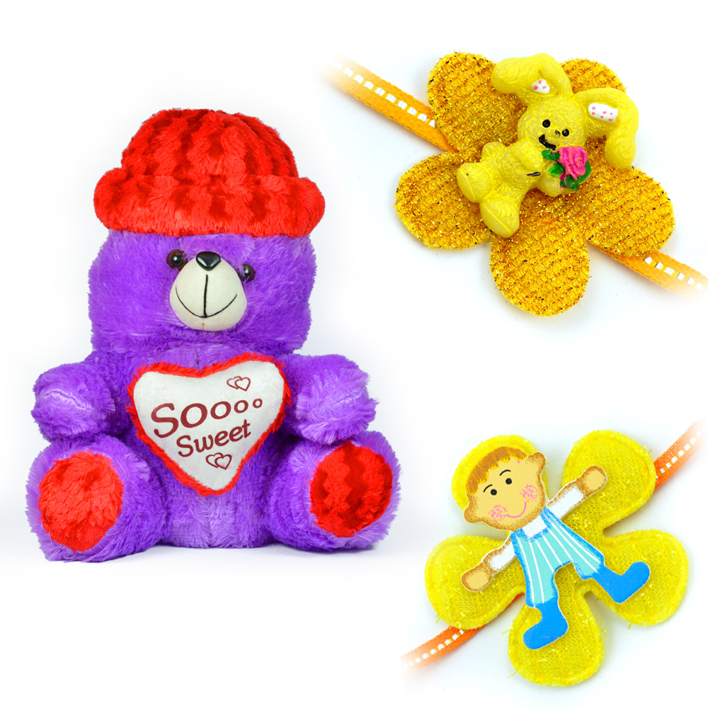 So Sweet Cap Heart Blue Stuffed Teddy Bear n 2 Kids Rakhi