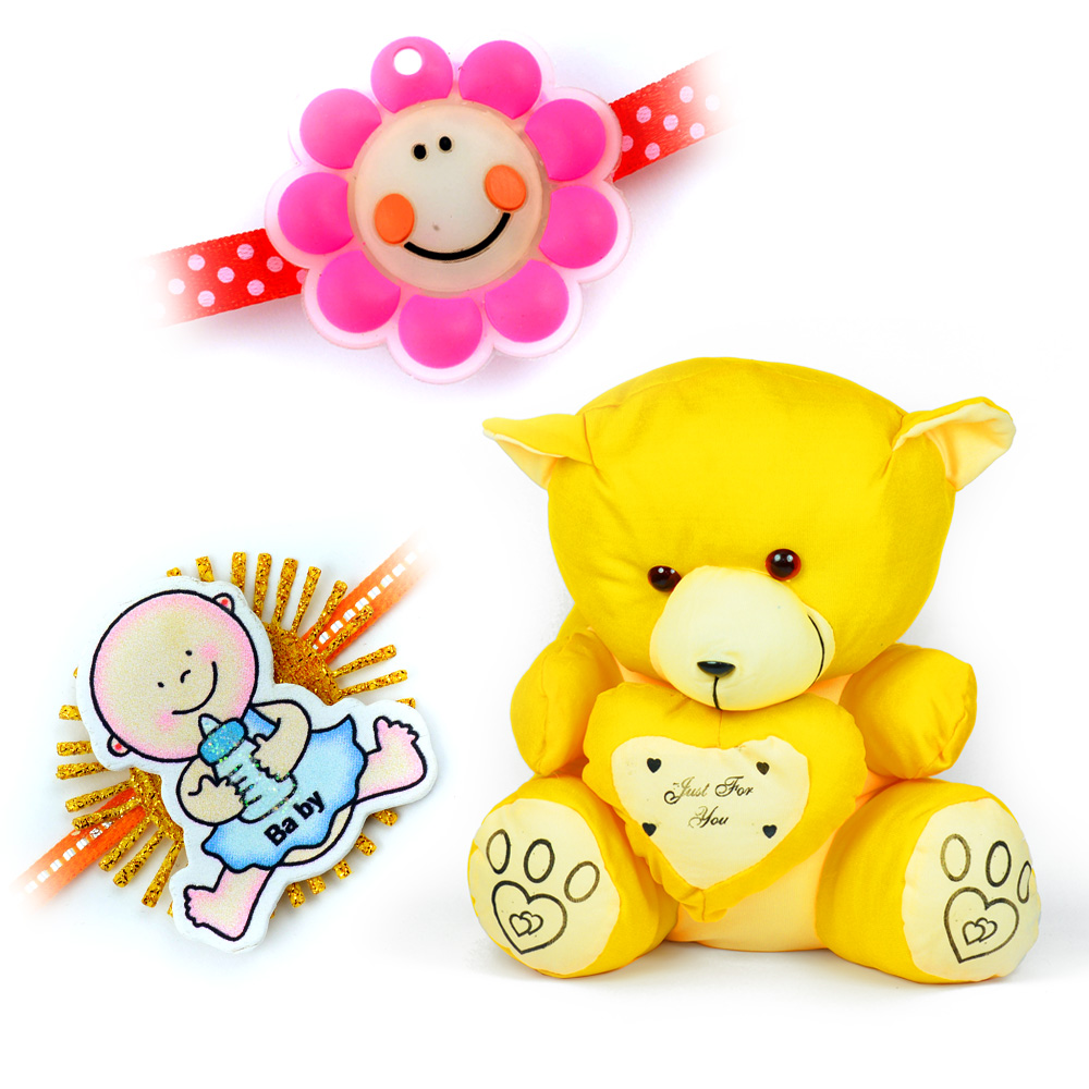 Little Yellow Heart Teddy Bear Kid Toy with 2 Kids Rakhi