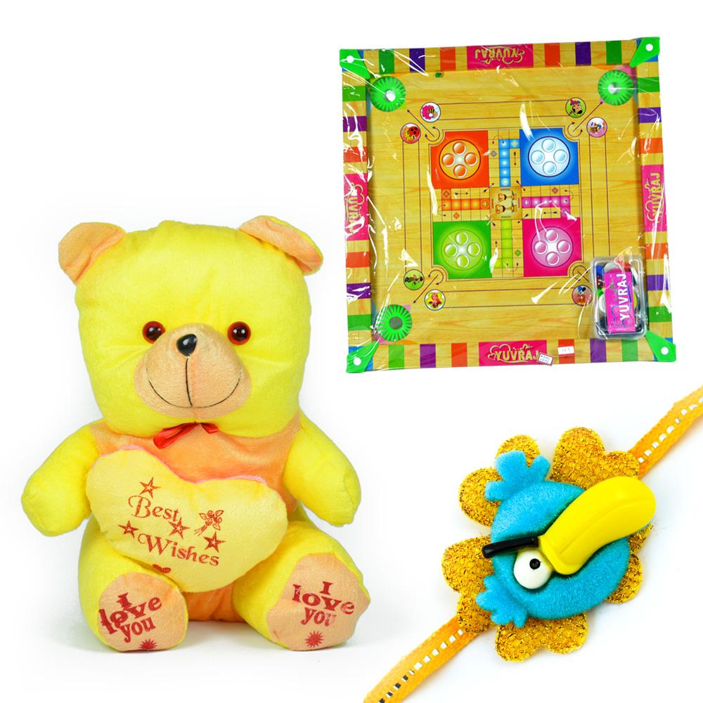 Silky Teddy Bear n Carrom Board with a Kids Rakhi