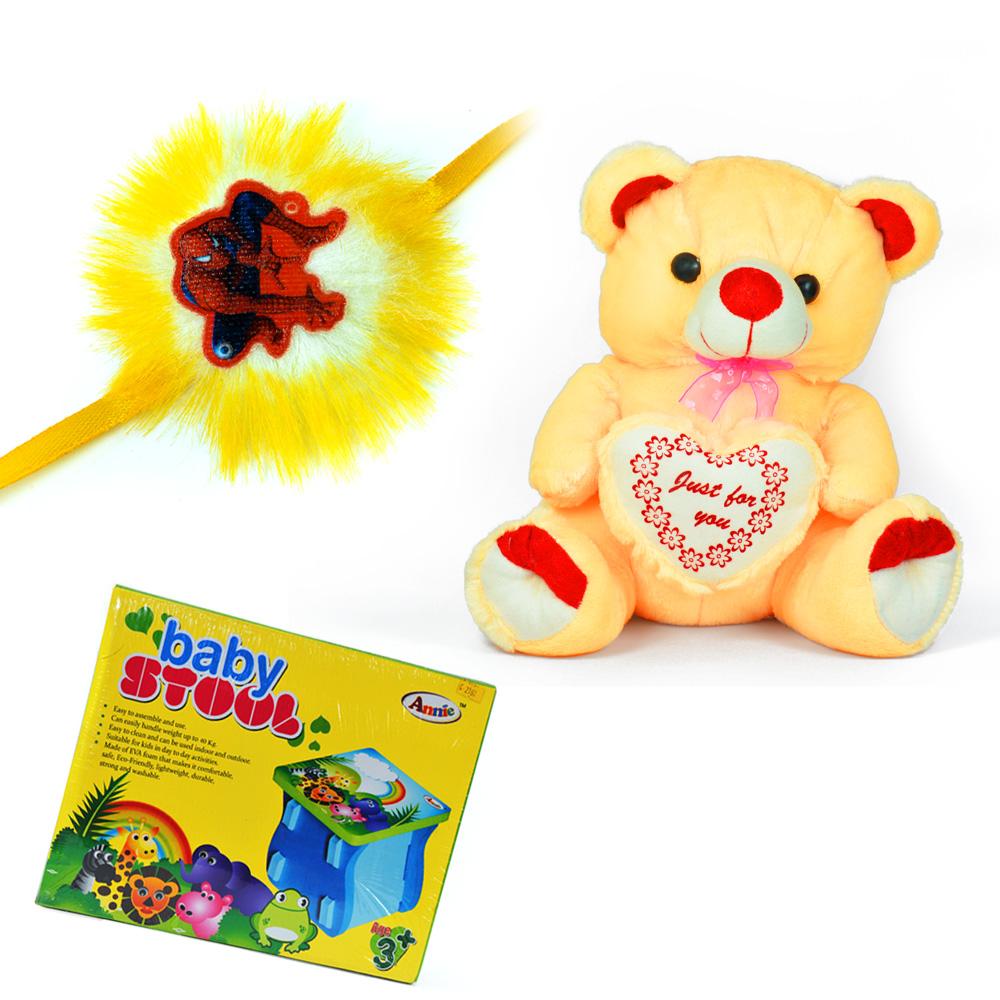 Big Cute Bow Soft Teddy Bear n Baby Stool with a Kids Rakhi