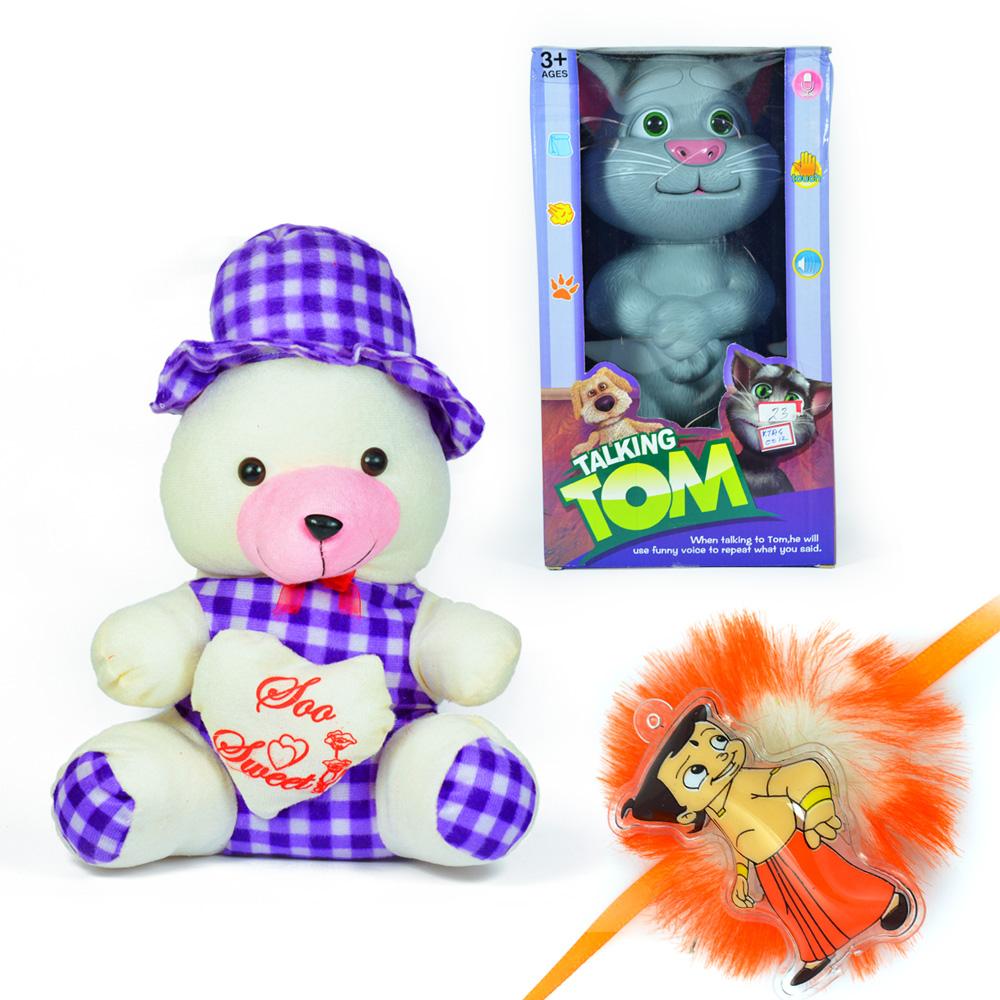 Bow Cap Soft Teddy Bear n Talking Tom Toy with a Kids Rakhi