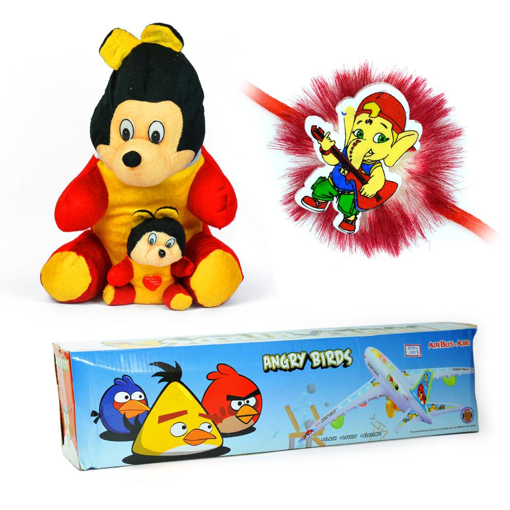 Cutty Monkey n Angry Birds-Air Bus with Little Ganesha Kids Rakhi