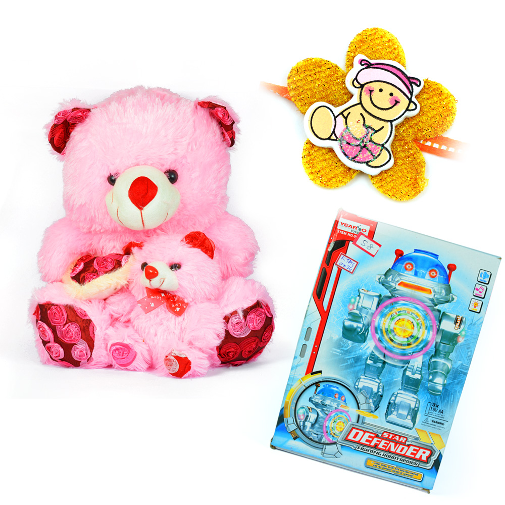 Cute Teddy Bear Pinky n Star Defender Kids Toy n Kids Rakhi