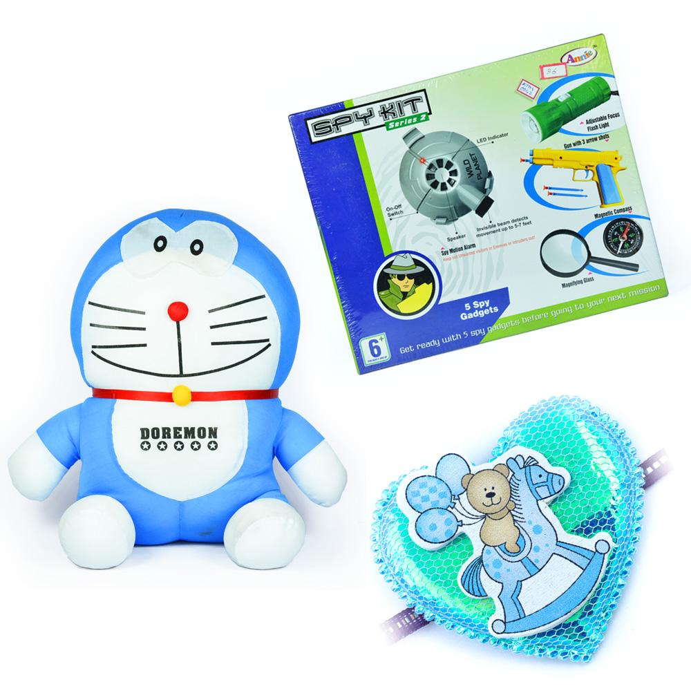Stuffed Doraemon Soft Toy n Spy Hit Toy with a Kids Rakhi